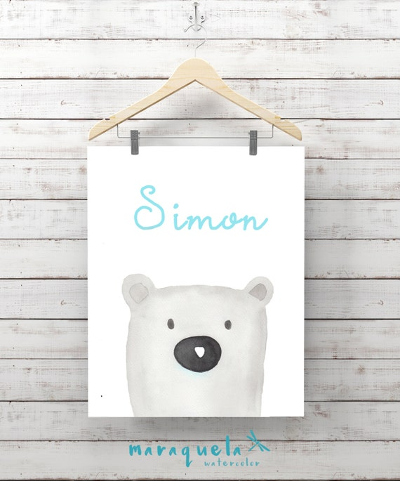POLAR BEAR Baby BOY in watercolor, Shower wall art. Shower boy baby, Gift Ideas Moon for Baby, original painting with customized name