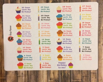Birthday countdown stickers