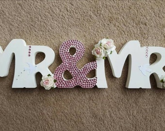 Custom Roses and Doves Mr & Mrs freestanding wooden sparkly Crystal sign wedding table decorations Center piece
