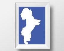 Bichon Frise Silhouette Blue Printable Art, Bichon Frise Print, Bichon Frise art, Dog decor, Dog lover gift, Bichon Frise Wall Art