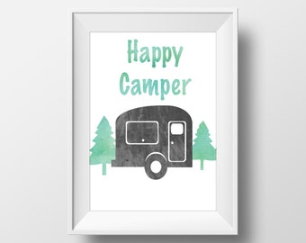 Happy Camper Print, Happy Camper Trailer Print, Trailer Print, Happy Camper Wall Art, Travel Print, Adventure Print, Camping Print,