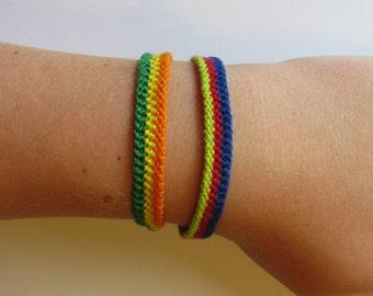 Vertical Stripe Embroidery Floss Bracelet