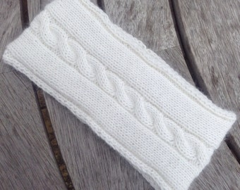 Ladies cream pure cashmere headband / ear warmer by Willow Luxury ( one size)