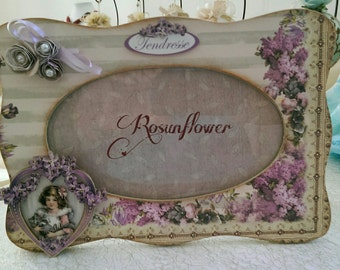 Wood Picture Frame. Wooden frame scrapbooking.  Shabby chic gift for baby