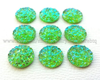 12mm Faux Druzy Cabochon Druzy Cabochons AB Lime Drusy Aurora Resin Cabs Iridescent Druzies Stud Earring Post Earrings Bezel Kawaii Finding