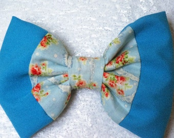 Blue Floral Hair Bow - Hair Bows for Teens and Adults