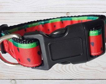 Watermelon Dog Collar - Medium Dog Collar - Red Collar - Bright Collar - Melon - Custom Dog Collar – Adjustable Collar - Unique Dog Collar