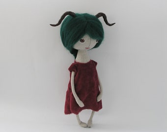 OOAK Art Doll with Horns / Cloth Doll with Horns / OOAK Doll / Fantasy Doll with Horns
