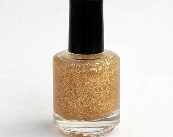 Goldschlacquer by Joy & Polish Company | Gold metallic flakes nail polish | 5 Free