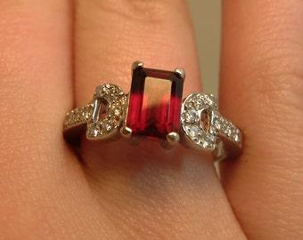 emerald cut garnet ring white gold 14k and diamonds