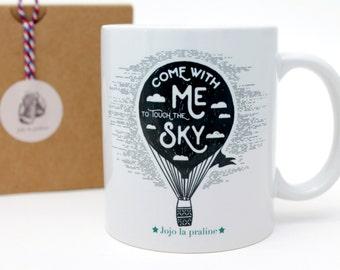 Mug, Coffee mug, gift for him, gift for her, gift for Christmas, Air balloon, vintage rocket mug , gift for kids, Valentine gift