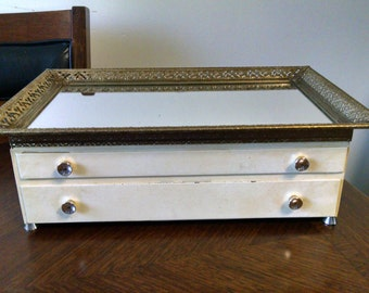 Unique Vintage Jewelry Box with a Mirror Top