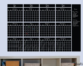 47x73 Chalkboard Yearly Wall Calendar Decal with Quarterly Headers - Yearly Planner Vinyl Chalk Board  12 months 1 year black board - C047
