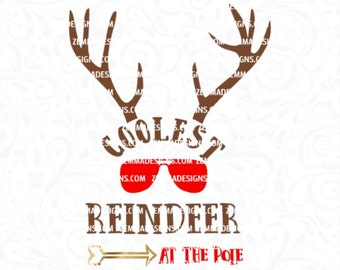 Reindeer svg - Coolest reindeer svg - christmas reindeer svg - boy christmas svg - svg boy - christmas boy svg - commercial use svg -  elf