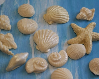 Edible Pearlized Seashells for Cakes/ Cupcakes/ Gumpaste Shells/ Fondant Shells