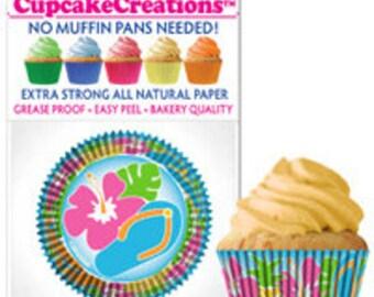 Hawaiian Themed Cupcake Liners/ Flip Flop Cupcake Liners