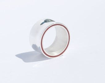 Silver ring with color line