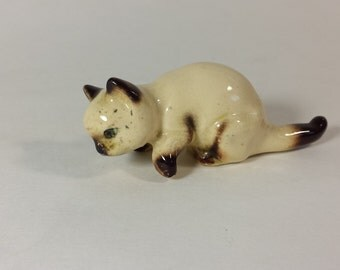 Vintage Cat Figurine, Siemese Cat,  Fine Bone China, Animal Figurine