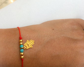 Red String Bracelet Hamsa Bracelet   Red String Evil Eye Bracelet   Hamsa Gold Filled Bracelet   Protection Bracelet