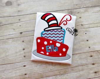 Girls Dr. Suess Birthday shirt, Toddlers Cat in the Hat Birthday, Infants, Cats Hat, Cake, Monogrammed, Personalized, Embroidered, Appliqued