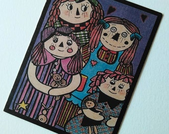 Friendship Cards ... PRIMITIVE DOLLS 4.25 x 5.5  in size, Country Dolls Cards, Raggedy Ann, Primitive Cards Greeting Cards, Recycled Paper,