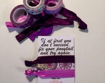 Hair Ties - Headband - Elastic - Lilac - Plum - Purple - Paisley