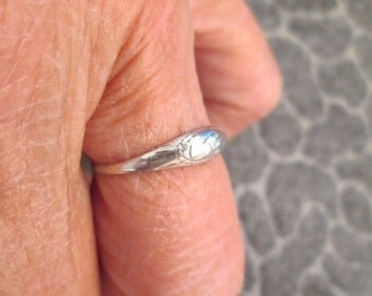 Solid Sterling Silver ETCHED DOME ring>dainty smaller dome size> vintage 1970's, never worn>various sizes