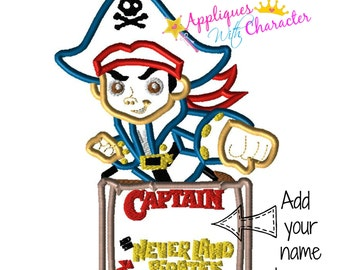 Jake Neverland Pirates Inspired Applique Embroidery Machine Design 3 sizes Instant Download