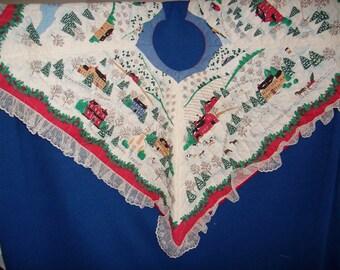 Chirstmas Village House Square Tree Skirt