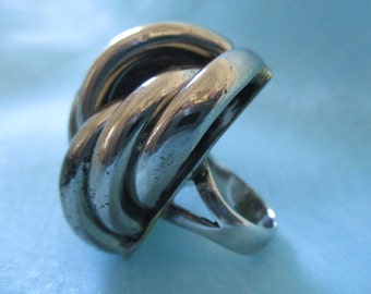 Chunky, Twisted Silver Tone Ring