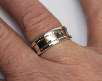 Silver and gold, Hammered Men's Wedding band