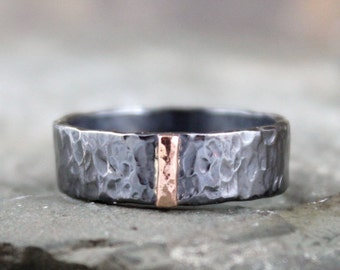 14K Rose Gold and Black Sterling Silver Band - Flat Pipe Style - Men's or Ladies Jewellery - 6mm Wedding Bands - Mixed Metal - Stacking Ring