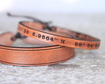 Men's Leather bracelet-Personalized- coordinates bracelet- longitude - latitude bracelets- Men's Jewelry- Men's Leather Cuff