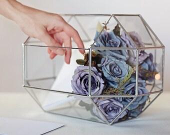 Carte boîte, grand Terrarium, bijoux géométriques boîte de verre, Conservatoire enveloppe porte, Wishing Well Box, Table d'amoureux, mariage décor