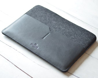 "NEW 15"" MacBook Pro Retina - Black Edition Leather Sleeve Case and Wool Felt Laptop Cover Handmade"