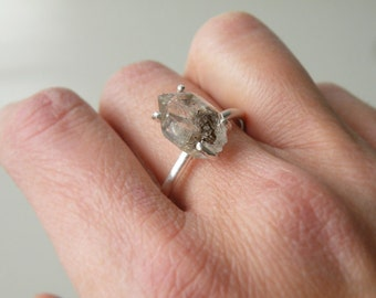 Herkimer Diamond Ring Sterling Silver Stacking Ring Rough Large Herkimer Engagement Ring by SteamyLab