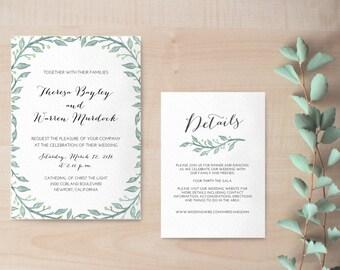 Hochzeitseinladung mit floralem Muster / Hochzeitseinladung grau / Hochzeitseinladung zum selber Drucken / Hochzeitseinladung elegant