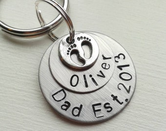 Personalized Hand Stamped Keychain With Child's Name & Dad Established with Footprint Charm or Heart - Poppy New Grandpa Est. 2017 - Papa