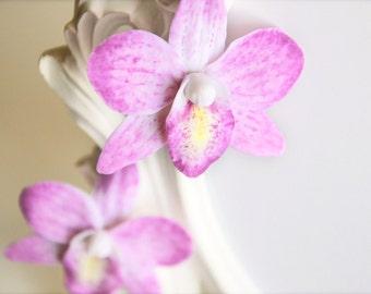 Orchid earrings, orchid jewelry, orchid, earrings, flower jewelry, floral jewelry, botanical jewelry, polymer clay, flower earrings, floral