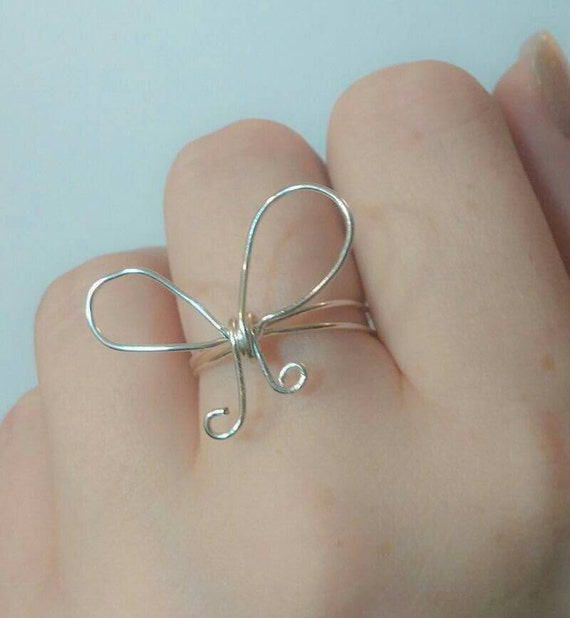 Silver Bow ring - bow jewelry - ribbon ring - forget me knot ring - gift for her - ribbon jewelry - best friend ring