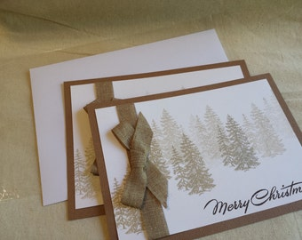 Brown Forest Christmas card- Set of Two