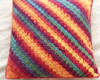 Rainbow Crochet Cushion