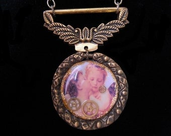 """Angel necklace steampunk kiss of angels Angel Steampunk necklace Angel Kiss Vintage Retro """"Angels necklace (A340)"""