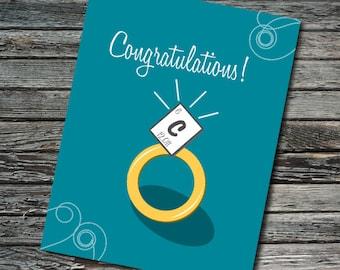 Wedding Science Card | Carbon Periodic Table Engagement | Science Chemistry Bond Ring | Chemist, Scientist, Teacher, Student, Professor Geek