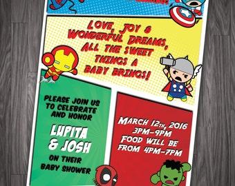 baby heroes baby shower marvel birthday digital printable