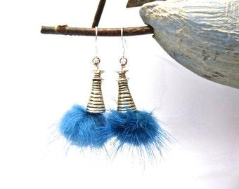 """Earrings """"Cocoon"""" faux fur blue 925 Silver hook"""