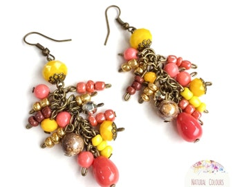Stunning colourful long earrings - yellow, coral, brown - everyday handmade beaded earrings - colourful hippie style - crystal earrings
