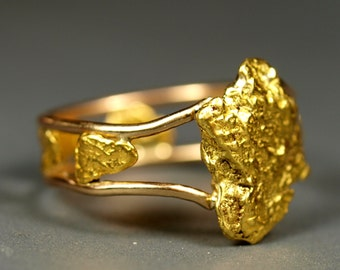 Natural Gold Nugget Ring - Size 6 - Made from Real California Gold Nuggets - Women's Gold Ring