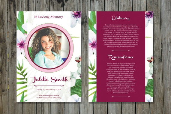 Funeral Program Template | 5x7 Funeral Card Template | Memorial Program |  Photoshop And MS Word Template | Instant Download | Fp 108  Memorial Card Template Word