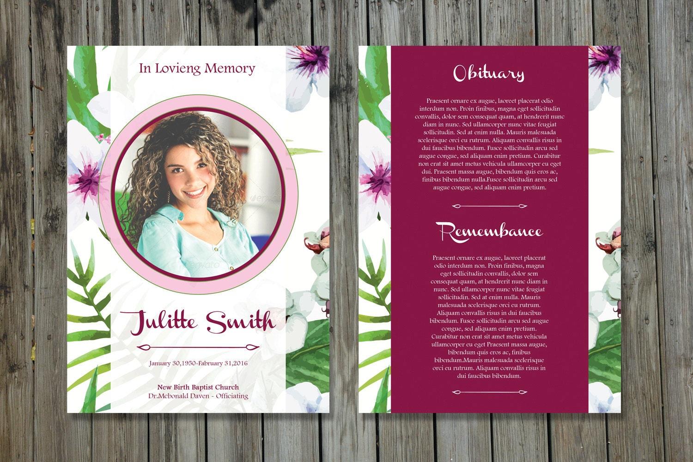 Funeral Program Template 5x7 Funeral Card Template – Memorial Card Template